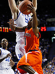 Josh Wallace gets blocked going for a lay up in the second half of UK's win over the Auburn Tigers at Rupp Arena on Jan. 11, 2011. Photo by Britney McIntosh   Staff