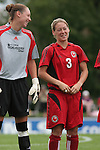 26 August 2007: Connecticut's Vanessa Bosshart-Phillips and Mary Frances Monroe (3). The Washington Freedom played the Connecticut Sun in the Hall of Fame Game as part of the National Soccer Hall of Fame Induction Weekend at the National Soccer Hall of Fame in Oneonta, New York.