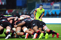 AJ MacGinty of Sale Sharks watches a scrum. Aviva Premiership match, between Saracens and Sale Sharks on February 25, 2017 at Allianz Park in London, England. Photo by: Patrick Khachfe / JMP