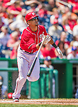 26 April 2014: Washington Nationals shortstop Ian Desmond in action against the San Diego Padres at Nationals Park in Washington, DC. The Nationals shut out the Padres 4-0 to take the third game of their 4-game series. Mandatory Credit: Ed Wolfstein Photo *** RAW (NEF) Image File Available ***