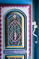 House of Mr. Sultan Kader. Nagore.<br /> Detail of the front door.<br /> Tamil Nadu. South India.