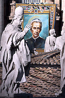 """A tapestry hanged on the facade of St Peter's basilica shows a portrait of Italian Lodovico Pavoni during a canonization mass . Pope Francis  leads a canonization mass on October 16, 2016 at St Peter's square in Vatican. Pope Francis canonises Argentine """"gaucho priest"""" Jose Gabriel Brochero today along with six others raised to sainthood : Salomon Leclercq, Jose Sanchez del Río, Manuel Gonzalez Garcia, Lodovico Pavoni, Alfonso Maria Fusco and Elizabeth of the Trinity."""
