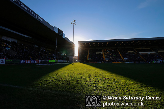 Notts County 0 Mansfield Town 0, 14/01/2017. Meadow Lane, League Two. The goal caught in a shaft of sunlight. Photo by Paul Thompson.