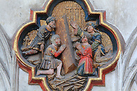Miraculous healing at the tomb of St John, plaque on the North side of the Gothic choir screen, 1490-1530, commissioned by canon Adrien de Henencourt and made by the sculptor Antoine Ancquier, depicting the life of St John the Baptist, at the Basilique Cathedrale Notre-Dame d'Amiens or Cathedral Basilica of Our Lady of Amiens, built 1220-70 in Gothic style, Amiens, Picardy, France. Amiens Cathedral was listed as a UNESCO World Heritage Site in 1981. Picture by Manuel Cohen