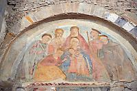 Medieval Fresco of the Madonna and Child in Santi Giovanni e Reparata, Lucca, Tunscany, Italy