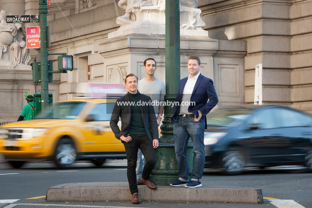 HSTA 20151015 USA, New York CIty. 3 employees of Gemic. Johannes Suikkanen (green turtle neck, L), Kevin Elliott (blue blazer, R) and Alex Jinich (grey tshirt, R). Photographer: David Brabyn