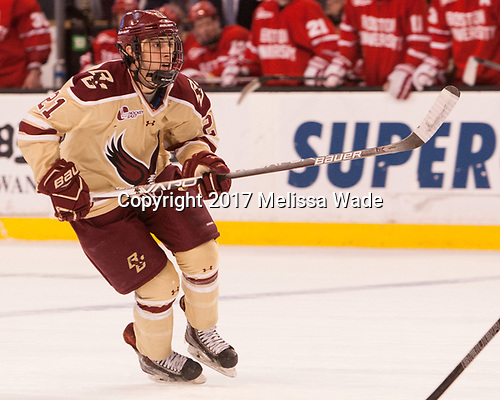 Matthew Gaudreau (BC - 21) - The Boston University Terriers defeated the Boston College Eagles 3-1 in their opening Beanpot game on Monday, February 6, 2017, at TD Garden in Boston, Massachusetts.