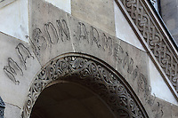 Inscription 'Maison Armenienne' above the entrance to the Fondation des Etudiants Armeniens, designed by Leon Nafilyan, 1877-1937, in Armenian style and inaugurated in 1930, in the Cite Internationale Universitaire de Paris, in the 14th arrondissement of Paris, France. The CIUP or Cite U was founded in 1925 after the First World War by Andre Honnorat and Emile Deutsch de la Meurthe to create a place of cooperation and peace amongst students and researchers from around the world. It consists of 5,800 rooms in 40 residences, accepting another 12,000 student residents each year. Picture by Manuel Cohen