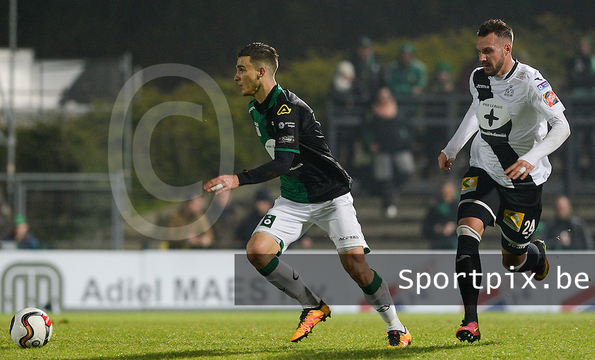 20161217 - ROESELARE , BELGIUM : Cercle's Pierre Bourdin (left) pictured with Roeselare's Mathieu Cornet (r) during the Proximus League match of D1B between Roeselare and Cercle Brugge, in Roeselare, on Saturday 17 December 2016, on the day 20 of the Belgian soccer championship, division 1B. . SPORTPIX.BE | DAVID CATRY