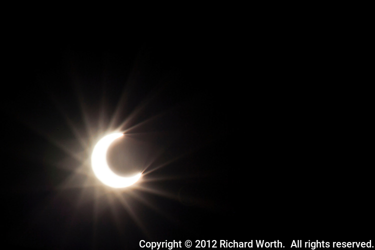 The moon partially covers the sun during the May 20, 2012 Annular solar eclipse as viewed from the San Francisco Bay area.