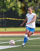 Boston Breakers defender Elli Reed (7) clears the ball. In a Women's Premier Soccer League Elite (WPSL) match, the Boston Breakers defeated Western New York Flash, 3-2, at Dilboy Stadium on May 26, 2012.