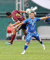 El Salvador forward Lester Blanco (17) heads the ball against Venezuela defender Wulliam Diaz (3). El Salvador National Team defeated Venezuela 3-2 in an international friendly at RFK Stadium, Sunday August 7, 2011.