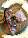 PE00033-00...WASHINGTON - Artist John Osgood painting his first pet portrate.