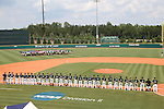 04 June 2016: Nova Southeastern players and coaches face the American flag during the national anthem. The Nova Southeastern University Sharks played the Millersville University Marauders in Game 14 of the 2016 NCAA Division II College World Series  at Coleman Field at the USA Baseball National Training Complex in Cary, North Carolina. Nova Southeastern won the game 8-6 and clinched the NCAA Division II Baseball Championship.