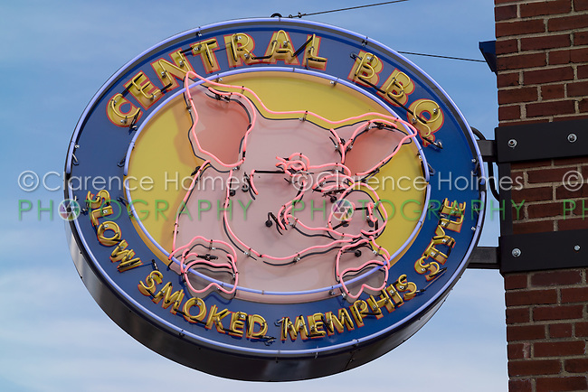 The neon sign outside of Central BBQ in Memphis, Tennessee