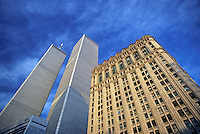 Looking up, Street level, Manhattan, New York City, New York, USA, Twin Towers, World Trade Center, designed by Minoru Yamasaki, International Style II