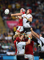 Jamie Cudmore of Canada and Mihai Macovei of Romania compete for the ball at a lineout. Rugby World Cup Pool D match between Canada and Romania on October 6, 2015 at Leicester City Stadium in Leicester, England. Photo by: Patrick Khachfe / Onside Images