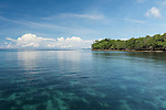 Anda, Bohol, Philippines; shallow coral reefs along the shoreline visible beneath the water's surface in early morning light