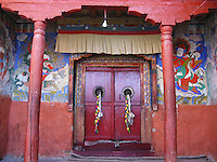The decorated door of a prayer room in Diskit Monastery, Nubra Valley, Ladakh on 4th June 2009. Diskit, established in the early 15th century,  is located about 150km from Leh, in the Nubra valley where temperatures can drop to way below -40C in the winter time.  Photo by Suzanne Lee
