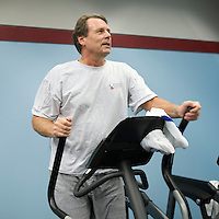 Raymond Semlow works out in the fitness center at the Pitney Bowes headquarters in Stamford, CT, United States, 7 October 2008.