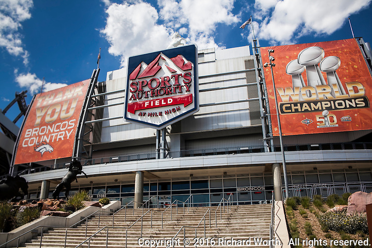 Sports Authority Field at Mile High Stadium, Denver, Colorado,on May 19, 2016, one day after the chain announced it would close all of its stores.