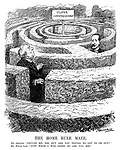 """The Home Rule Maze. Mr Asquith. """"Excuse me, Sir, but are you trying to get in or out?"""" Mr Bonar Law. """"Just what I was going to ask YOU, Sir."""" (Asquith and Bonar Law lost in a maze with the sign Ulster Conversazione at the centre)"""
