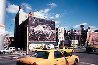 A billboard advertising Calvin Klein Jeans on the side of a building in Soho on March 25, 2005. Klein's advertisements have always used sex and have tested society's cultural and moral boundries. (© Richard B. Levine)