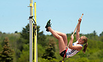 LITCHFIELD,  CT-052017JS13- Litchfield's Sarah Beres tries to clear 9' in the pole vault during the Berkshire League Outdoor Track and Field Championships Saturday at the Plumb Hill Sports Complex in Litchfield. Beres did not clear 9', but with a vault of 8'6&quot; took first place and tied the Litchfield High School record. <br /> Jim Shannon Republican-American