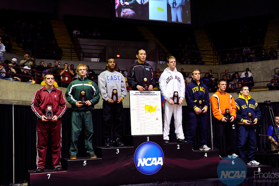 12 MAR 2011: The 149lbs awards ceremony during the Division III Men's Wrestling Championship held at the La Crosse Center in La Crosse Wisconsin. Stephen Nowland/NCAA Photos