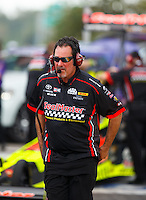Sep 25, 2016; Madison, IL, USA; Crew member for NHRA top fuel driver J.R. Todd during the Midwest Nationals at Gateway Motorsports Park. Mandatory Credit: Mark J. Rebilas-USA TODAY Sports