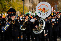 New York police Department band take part during the 89th Macy's Thanksgiving Annual Day Parade in the Manhattan borough of New York.  11/26/2015. Eduardo MunozAlvarez/VIEWpress