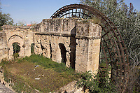 «Molino de la Albolafia», islamic water wheel (noria), downstream the roman bridge on the Guadalquivir river, Córdoba, Andalusia, Spain; This water wheel was in fact a roman mill to which a wheel was placed at the time of Abd-al-Rahman II (790 ? 852 AD) to raise the water of the river to the Caliphal Palace converted into the Episcopal Palace by the Catholic Kings. Picture by Manuel Cohen