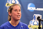 03 December 2011: Duke's Nicole Lipp. The Duke University Blue Devils held a press conference at KSU Soccer Stadium in Kennesaw, Georgia the day before playing Stanford in the NCAA Division I Women's Soccer College Cup championship game.