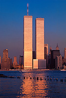 Golden Twin Towers, World Trade Center, Manhattan, NYC, New York, designed by Minoru Yamasaki, International Style II, sunset