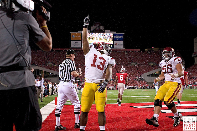 12 September 2009:  Football -- USC running back Stafon Johnson celebrates his game-winning touchdown against Ohio State at Ohio Stadium in Columbus.  USC won 18-15.  Photo by Christopher McGuire.