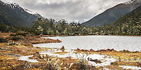 Scenic alpine lake in Lewis Pass with moss and lichens, Lewis Park National Reserve, South Island, New Zealand
