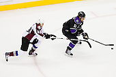 Anze Kopitar (Los Angeles Kings, #11) vs Matt Hunwick (Colorado Avalanche, #48) during ice-hockey match between Los Angeles Kings and Colorado Avalanche in NHL league, Februar 26, 2011 at Staples Center, Los Angeles, USA. (Photo By Matic Klansek Velej / Sportida.com)