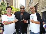 Shawn Brady and Sean Ringgold and a fan  attending The One Life to Live.43rd Anniversary Block Party outside the ABC Studio on July 15, 2011 in New York City.