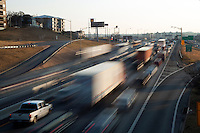 Urban Interstate 35 (I-35) rush hour traffic in downtown Austin, Texas
