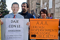 Roma 25 Novembre 2014<br /> Blitz NCD in piazza del Campidoglio contro l&rsquo;inerzia politica e amministrativa del Sindaco Ignazio Marino. Il coordinatore regionale del NCD, Roberta Angelilli.<br /> Rome November 25, 2014<br /> Blitz NCD in Campidoglio square against the inertia  political and administrative of the  Mayor Ignazio Marino. The regional coordinator of the NCD, Roberta Angelilli.