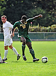 13 September 2009: University of Vermont Catamount forward D.J. Edler, a Freshman from Atlanta, GA, in action against the University of Massachusetts Minutemen during the second round of the 2009 Morgan Stanley Smith Barney Soccer Classic held at Centennial Field in Burlington, Vermont. The Catamounts and Minutemen battled to a 1-1 double-overtime tie. Mandatory Photo Credit: Ed Wolfstein Photo