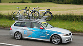 Team car.  Olympics 2012.  Women's cycle road race passes along the Shere bypass, the A25, on it's way to Box Hill and then back to the finish in London.