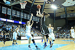03 February 2013: Duke's Haley Peters (33) shoots over North Carolina's Megan Buckland (3). The University of North Carolina Tar Heels played the Duke University Blue Devils at Carmichael Arena in Chapel Hill, North Carolina in an NCAA Division I Women's Basketball game.
