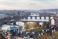 Bridges over the Vltava river, including the Charles Bridge or Karluv most, as seen from Letna, Prague, Czech Republic. The historic centre of Prague was declared a UNESCO World Heritage Site in 1992. Picture by Manuel Cohen