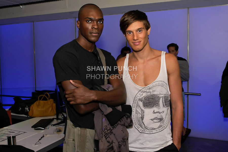 Models pose backstage before the Francis Hendy Spring 2012 mens collection, fashion show, in the Samsung Experience, during New York Fashion Spring 2012, on September 8, 2012.