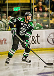 24 October 2015: University of North Dakota Defenseman Gage Ausmus, a Junior from East Grand Forks, MN, in second period action against the University of Vermont Catamounts at Gutterson Fieldhouse in Burlington, Vermont. North Dakota defeated the Catamounts 5-2 in the second game of their weekend series. Mandatory Credit: Ed Wolfstein Photo *** RAW (NEF) Image File Available ***