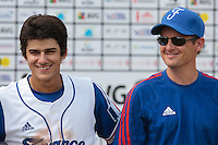 19 August 2010: Maxime Lefevre of Team France is seen next to Rodolphe Le Meur during France 7-6 win over Slovakia, at the 2010 European Championship, under 21, in Brno, Czech Republic.