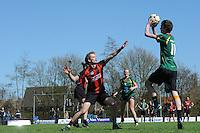 KORFBAL: REDUZUM: Sportpark Reduzum, 28-04-2013, Veld Hoofdklasse A, KV Mid Fryslân-LDODK AH Gorredijk, Eindstand 13-19, Thomas Brouwer (#15 | MF), Erwin Zwart (#11 | LDODK), ©foto Martin de Jong