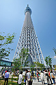 May 27, 2012, Tokyo, Japan - Many visitors crowd the newly opened Tokyo Skytree on Sunday, May 27, 2012. Tokyo Skytree, the world's tallest broadcasting tower, and surrounding facilities had 564,000 visitors in its first weekend since opening last week. The good weather on both days helped push the figure above the initial forecast of about 400,000 visitors. (Photo by Masahiro Tsurugi/AFLO) -ty-