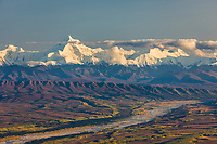 Little Delta river flows out of the Alaska range mountains, Mount Hayes, the prominent peak, interior, Alaska.